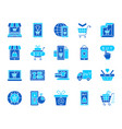 online shop simple color flat icons set vector image