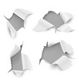 paper holes ragged torn sheet realistic ripped vector image