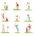 people playing golf on grass striking the ball vector image vector image