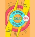 retro-futuristic sales background promotion vector image vector image