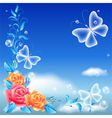 Roses and transparent butterfly vector image