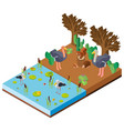 scene with animals by the river in 3d design vector image vector image