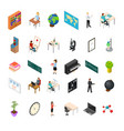 school education icon set concept 3d isometric vector image vector image