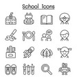 school icon set in thin line style vector image