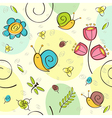 seamless pattern flowers insects vector image