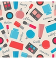 Seamless pattern with cosmetics and text vector image vector image