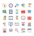 seo and marketing flat colored icons 3 vector image vector image