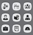 Set of 9 editable bureau icons includes symbols
