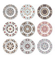 set of nine decorative plates vector image vector image