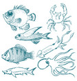 set of underwater life vector image vector image