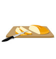 slices of bread on cutting board vector image