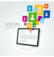 social icon group element computer pc display vector image vector image