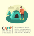 Summer camping poster banner cartoon man in camp