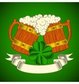 Two wooden mugs of beer on a green background vector image vector image
