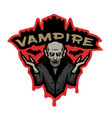 vampire emblem on a dark background vector image