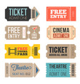 vintage tickets in different style vector image vector image