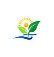 wellness people logo concept plant and sunlight vector image vector image