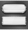 white glass 3d buttons on metal perforated vector image vector image
