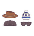 winter set of hats for boys and girls in cold vector image