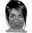 woman wearing disposable medical surgical face vector image