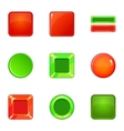 Glossy web button icons set cartoon style vector image