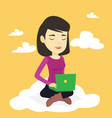 woman using cloud computing technology vector image