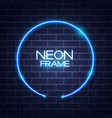 abstract neon frame template on brick wall vector image vector image