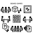 board games people playing cards and chess vector image vector image