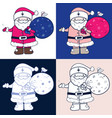 cartoon santa claus with gift bag and little bird vector image