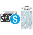Cash Icon with 1000 Medical Business Icons vector image vector image