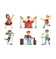 children playing musical instruments and singing vector image vector image