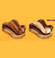 chocolate swirl duo spread on bread 3d realistic vector image