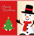 christmas greeting card cute holiday snowman vector image