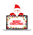 christmas with santa claus and gift on laptop vector image vector image