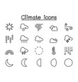climate weather icons set in thin line style vector image