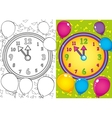Coloring Book Of Christmas Clock And Balls vector image