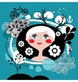 Creative portrait of blond girl from Scandinavia vector image
