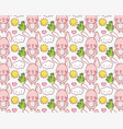 Cute bunny and nature cartoons background vector image