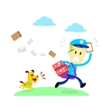 Dog Chasing A Mailman vector image vector image