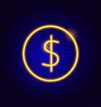 dollar coin neon sign vector image vector image