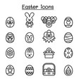 easter icon set in thin line style vector image vector image