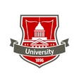 Education heraldic badge with university building vector image vector image