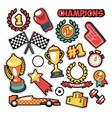Fashion Badges Patches Stickers Champions Theme vector image vector image