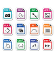 File type black icons as labels - graphics coding vector image vector image