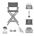 films and cinema monochrome icons in set vector image