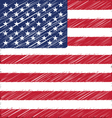 flat hand draw sketch flag of united state vector image vector image