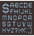 Font from bluish scotch tape - Roman alphabet vector image vector image