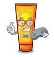 gamer cartoon sun cream in bag makeup vector image