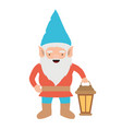 gnome with colorful costume with hand lamp on vector image vector image