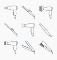 hair styling accessories icon set vector image